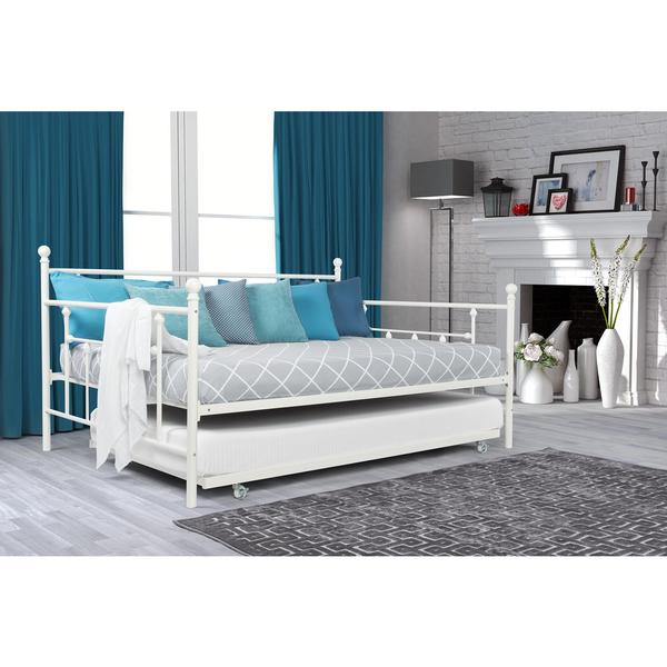 DHP White Manila Full Size Metal Daybed and Twin Size Trundle - DHP White Manila Full Size Metal Daybed And Twin Size Trundle