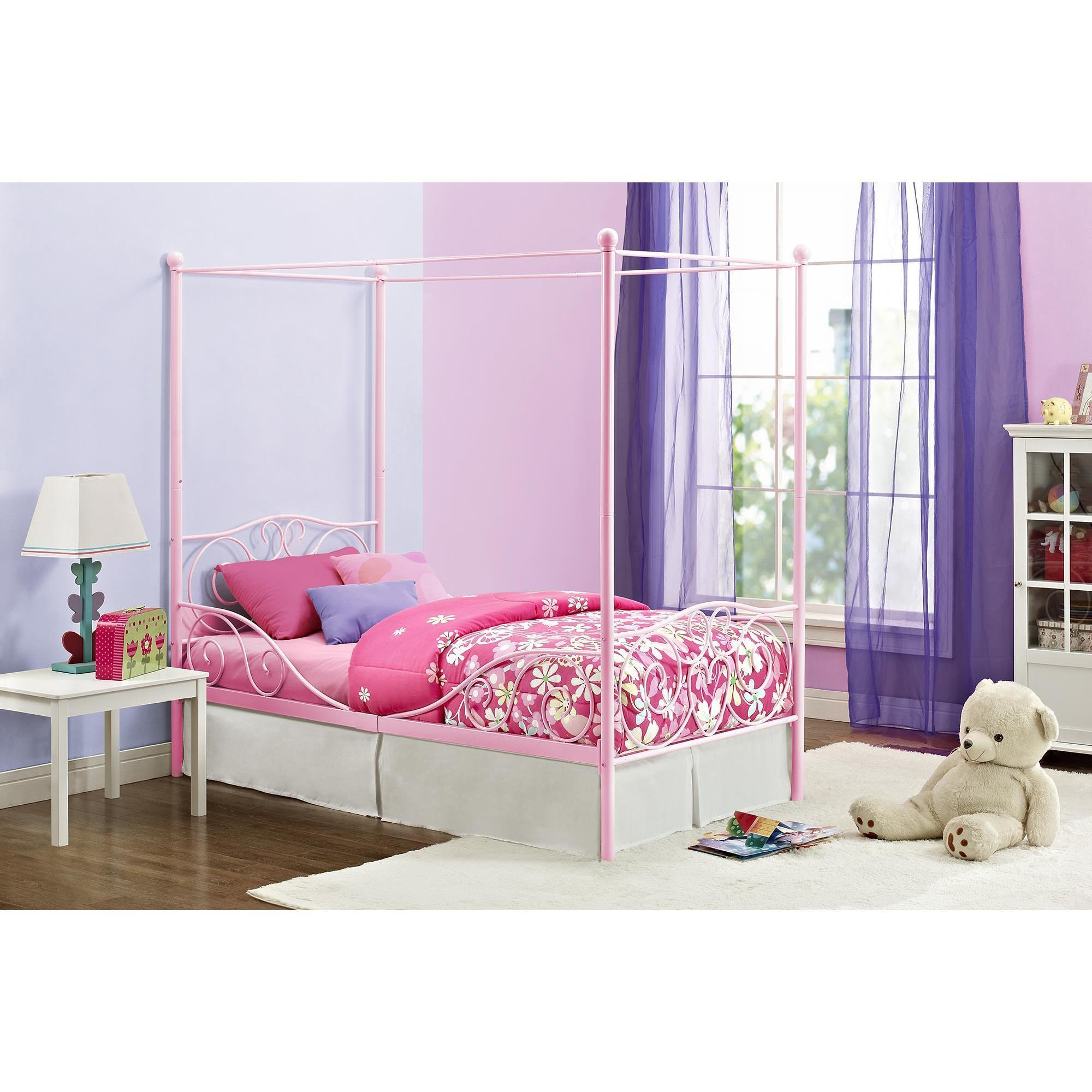 DHP Pink Canopy Twin Metal Bed (Twin canopy bed, pink)