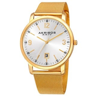 Akribos XXIV Men's Swiss Quartz Date Aperture Stainless Steel Gold-Tone Bracelet Watch