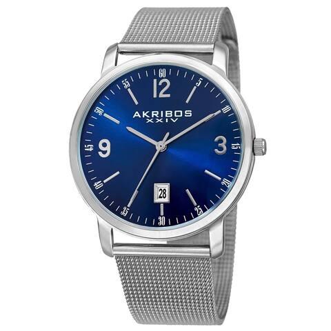 Akribos XXIV Men's Swiss Quartz Date Aperture Stainless Steel Blue Bracelet Watch