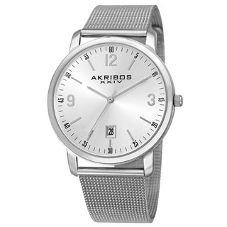 Akribos XXIV Men's Swiss Quartz Date Aperture Stainless Steel Silver-Tone Bracelet Watch