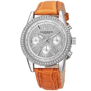 Akribos XXIV Women's Swiss Quartz Multifunction Leather Silver-Tone Strap Watch