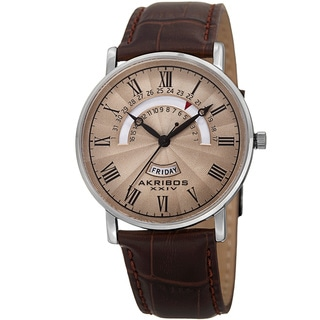 Akribos XXIV Men's Movement Retrograde Day/Day Leather Brown Strap Watch