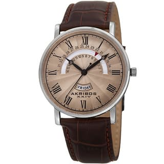 Akribos XXIV Men's Movement Retrograde Day/ Day Watch with Leather Strap|https://ak1.ostkcdn.com/images/products/10546644/P17626594.jpg?impolicy=medium