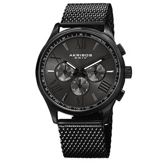 Akribos XXIV Men's Swiss Quartz Multifunction Dual Time Stainless Steel Black Bracelet Watch (2 options available)