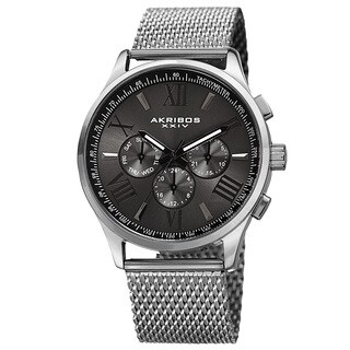 Akribos XXIV Men's Swiss Quartz Multifunction Dual Time Stainless Steel Silver-Tone Bracelet Watch - Black