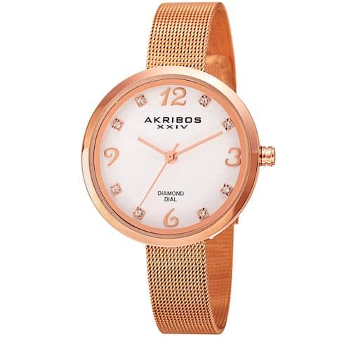Akribos XXIV Women's Quartz Diamond Stainless Steel Rose-Tone Bracelet Watch - Gold
