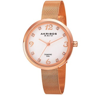 Akribos XXIV Women's Quartz Diamond Stainless Steel Rose-Tone Bracelet Watch