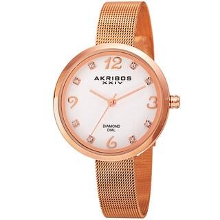 Akribos XXIV Women's Quartz Diamond Stainless Steel Rose-Tone Bracelet Watch with FREE GIFT - Gold