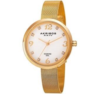Akribos XXIV Women's Quartz Diamond Stainless Steel Gold-Tone Bracelet Watch with FREE Bangle - GOLD