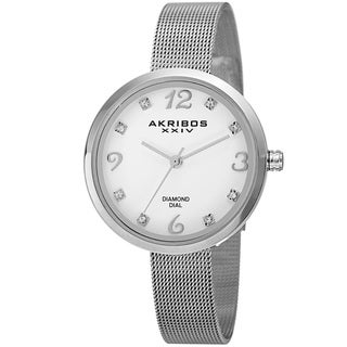Akribos XXIV Women's Quartz Diamond Stainless Steel Silver-Tone Bracelet Watch with FREE Bangle - silver