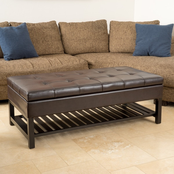 Miriam Wood Rectangle Storage Ottoman Bench with Bottom Rack by Christopher  Knight Home - Miriam Wood Rectangle Storage Ottoman Bench With Bottom Rack By
