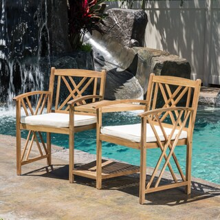 Bayshore Outdoor Acacia Wood Adjoining Chairs with Cushions by Christopher Knight Home