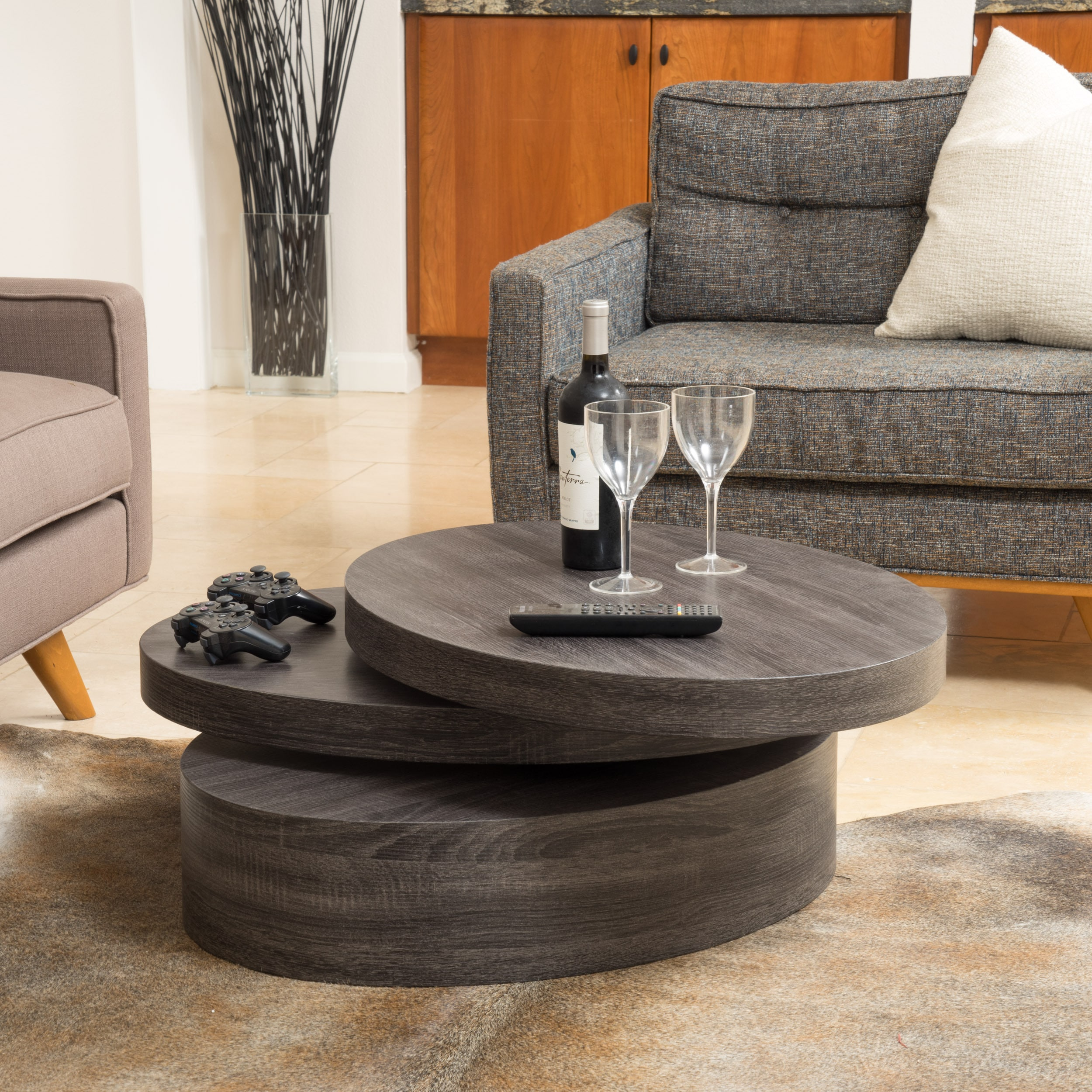 Oval Rotating Coffee Table: Carson Oval Mod Rotating Wood Coffee Table By Christopher