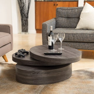 Carson Oval Mod Rotating Wood Coffee Table By Christopher Knight Home