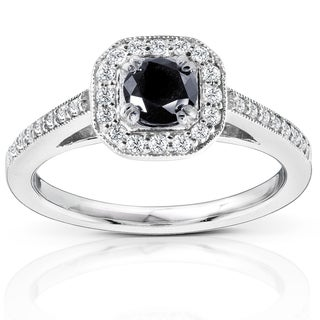 Annello by Kobelli 14k White Gold 3/4ct TDW Black and White Round Diamond Halo Ring