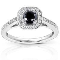 Annello by Kobelli 14k White Gold 3/4ct TDW Black and White Round Diamond Halo Ring