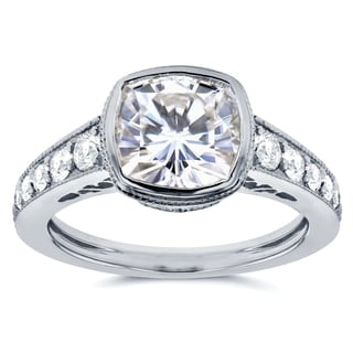 Annello by Kobelli 14k White Gold Cushion Moissanite Bezel and 2/5ct TDW Diamond Engagement Ring (G-H, I1-I2)