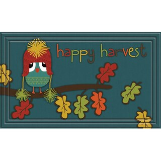 Fashionables Happy Harvest Owl Teal Door Mat (18 x 30)