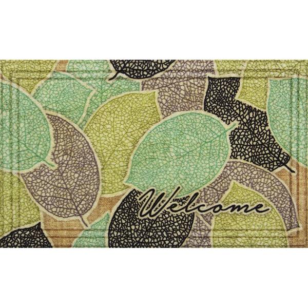 Naturelles Burlap Leaves Brown Door Mat (18 x 30) - 1'5 x 2'5