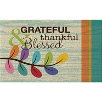Polytop Grateful Thankful Teal Door Mat (18 x 30)