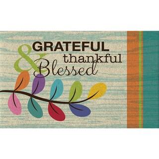 Polytop Grateful Thankful Teal Door Mat (18 x 30)