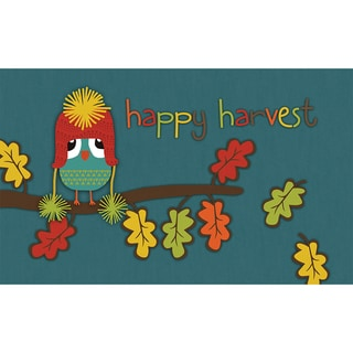 Polytop Happy Harvest Owl Teal Door Mat (18 x 30)