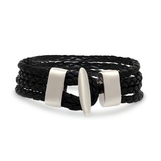 Gioelli Brass Braided Double Black Leather Bracelet