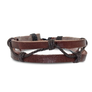 Gioelli Adjustable Zig-Zag Leather Bracelet