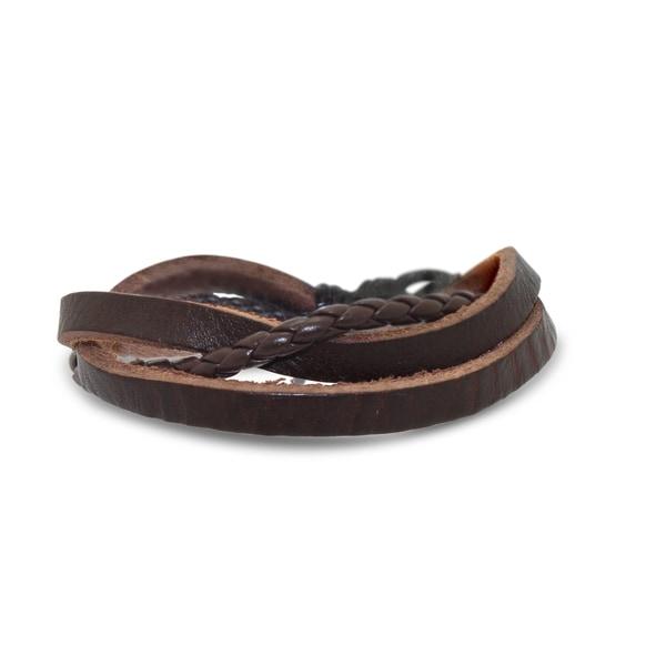 Gioelli Double Texture Brown Leather Bracelet
