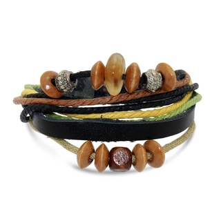 Gioelli Leather and Cotton Cord Synthetic Bead Adjustable Bracelet
