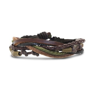 Gioelli Leather and Brass Skull Bead Multi-layered Cord Bracelet