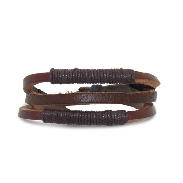 Gioelli Wrapped Brown Leather Adjustable Bracelet