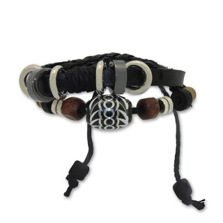 Gioelli Stainless Steel Leather and Cotton Multi-layered Synthetic Bead Adjustable Bracelet