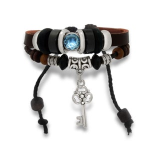 Gioelli Stainless Steel Leather and Cotton Multi-layered Key Pendant Adjustable Bracelet