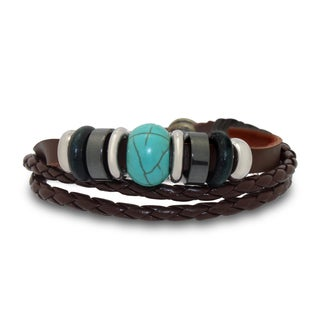 Gioelli Stainless Steel Leather and Cotton Multi-layered Synthetic Turquoise Adjustable Bracelet