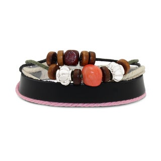 Gioelli Stainless Steel Leather and Cotton Multi-layered Synthetic Stone Adjustable Bracelet