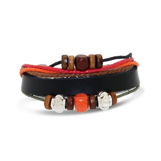 Gioelli Stainless Steel Leather and Cotton Multi-layered Synthetic Beads Adjustable Bracelet