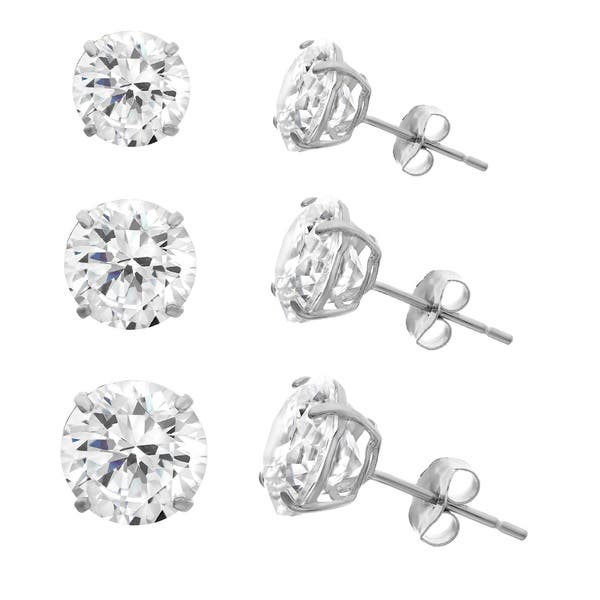 11ad361df Shop Gioelli 10k White Gold Cubic Zirconia Round Stud Earrings ...