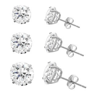 Gioelli 10k White Gold Cubic Zirconia Round Stud Earrings