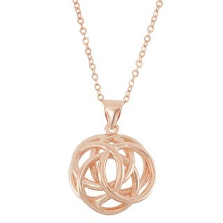 Gioelli 10k Rose Gold over Silver Interlocking Circles Pendant Necklace
