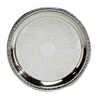 "Elegance 10"" Silver Designed Round Tray"