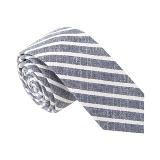 Skinny Tie Madness Men's 'Busted Beverly' Blue Striped Skinny Tie