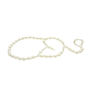 Pearlyta Double Strand Pearl Heart Design Anklet