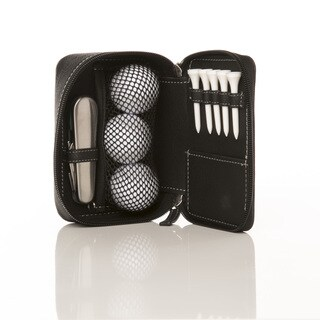 Mini Golf Club Bag In Leather with 3 Golf Balls, 5 Tees, And A Divot Repair Tool