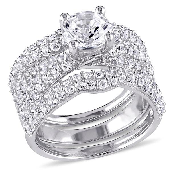 Miadora Sterling Silver Created White Sapphire 3-Piece Bridal Set