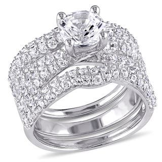 miadora sterling silver created white sapphire 3 piece bridal set - Silver Wedding Rings