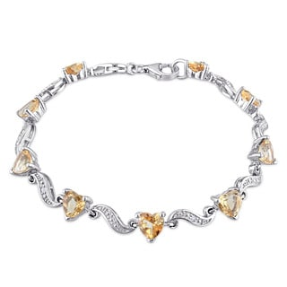 Miadora Sterling Silver Citrine and Diamond Accent Heart Bracelet