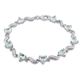Miadora Sterling Silver Green Amethyst and Diamond Accent Heart Bracelet