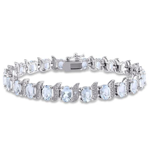 Miadora Sterling Silver Aquamarine and Diamond Accent Tennis Bracelet - Blue